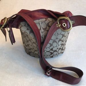 Coach Brown and drowsy red/burgundy bucket bag